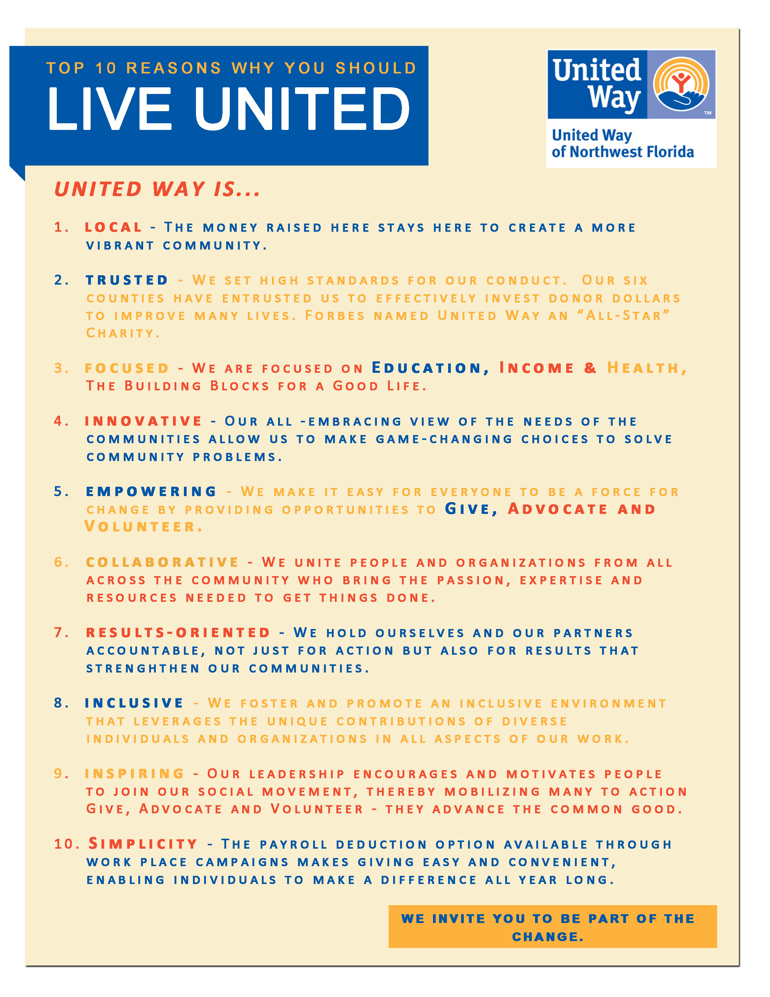Reasons to invest in united way united way of northwest for Why live in florida
